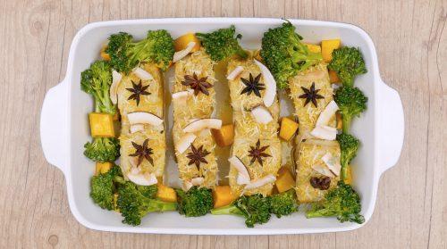 Bacalhau com coco, brócolis e abóbora